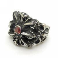 Carved Cross Fleur de lis Charm Jewelry, Men's Ruby Crystal Vintage Ring Biker Black Stainless Steel Size 8-13
