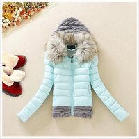 Free shipping 2014 Korean version of the new winter women coat knit wool cap stitching cotton padded cotton jacket Slim Down B13