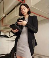 2014 British Hot Selling Fashion Patchwork Pattern Full Sleeve Poket Long Style Women Lady Girl's Leather Coat