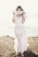 Free Shipping 2015 New White Lace Chiffon Backless A-line Sweetheart Spaghetti Straps Sexy Low Back Long Beach Wedding Dresses