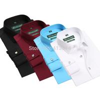 100% COTTON High quality Men's brand dress shirts Fshion casual rhinestone button shirt men Business Formal shirt