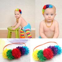 Drop Shipping1pcs children accessories triple shabby chiffon frayed flowers headband hair accessory Christmas Gift