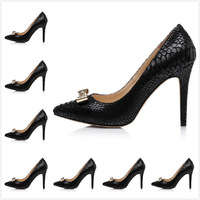 2014 Newest Lady's Black Python Genuine Leather Pointed Toe With Metallic Slip On Pumps,Women's Luxury Designer High Heels Shoes