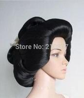Anime Wig Black Geisha Full Wigs Plate Hair Cosplay Wig