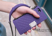 Newest 3D Brand Boy Bag Plaid Case Cover For Iphone4 4S 5 5S 6 6 4.7 With Chain Handbag Cases Grid Design Free Ship