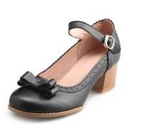 New 2014 Sweet Round Toe Women  Mary Jane Pumps Fashion Bowtie Thick Heel Office Heels Ladies Elegant High Heels Wedding Shoes