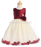 fashion real designer christmas krikor-jabotian flower girl tutu dress applique satin flower girls dress for weddings RTT-0456