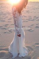 Free Shipping 2015 New White Lace Chiffon A-line V-neck Floor Length Long Sleeves Sexy Long Beach Wedding Dresses Bridal Dress