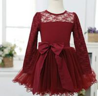 Hu Sunshine wholesale 2014 new fashion spring autumn girls gauze lace pattern print bow tie full dress 5pcs / lot WW10130700H