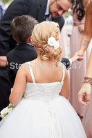 fashion real designer christmas krikor-jabotian spaghetti strap white bride beading  flower girls dress for weddings RTT-0459