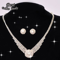 Hot Selling Brilliant Wedding Decoration Delicate Accessory Simple Circle Stud Earrings Necklace Fashion Jewelry Set  F027
