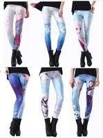 Autumn Spring Women Fitness Leggings Frozen Snow Queen Aisha Print Leggings Digital Printing Blue Sexy Girls Punk Legging W00427