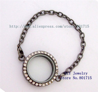 round Gun black 1pcs solid zinc alloy 30mm Living Floating Charm Memory Locket bracelet as gift without floating charms