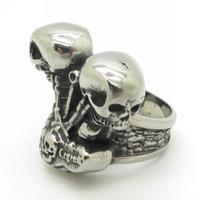 New Arrival 2014 Fashion Motorcycle Engine Ring, Rock Style 316L Stainless Steel Skeleton Skull Biker Men Ring HD Gift