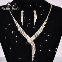 Simpe Style Silver Long Tassel Wedding Accessories Female Exquisite Fashion Women Jewelry Set  F030