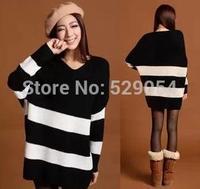 autumn and winter women's korean loose large size Medium style pullover knitting shirt batwing sleeve stripe sweater coat C46