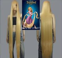 HOT! Movie Tangled Rapunzel long blonde cosplay wavy wig 150cm