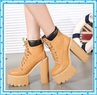 lace up boots women pumps winter autumn shoes women boots short high heels motorcycle women ankle fur boots platform boots C571