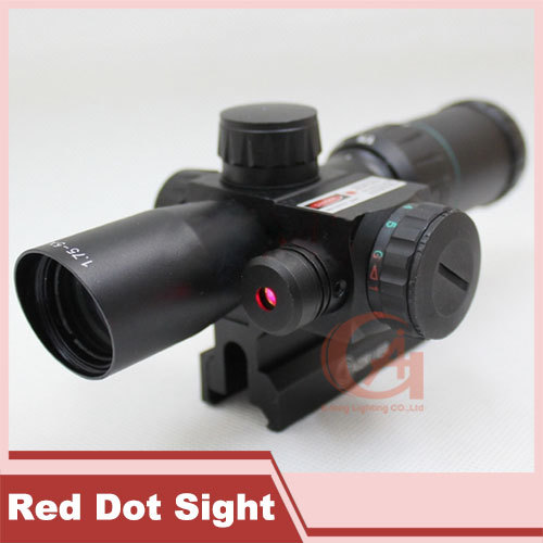 Tactical 1.75-5X24 Hunting Mil Dot Air Rifle Scope Optics Sniper Deer Hunting Scope 20 mm Rail Mounts + Red Laser HT5-0016(China (Mainland))