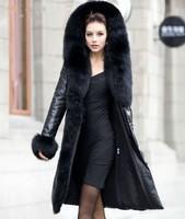 2014 New Women Winter Genuine Natural Sheepskin Leather Fox Fur Huge Collar Hood Trim Thick Down Pad Parka Jacket Coat Outerwear