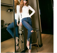2014 new hole ladies high waisted ripped jeans real pictures blue size 26-30