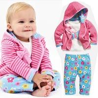 351# Free shipment autumn children girl's stripe flower bow piece clohting sets retail sale