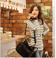 2014 new autumn Korean female striped t-shirt big yards women's round neck long-sleeved shirt Slim was of thin