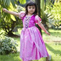 2014 Frozen girls Tangled Rapunzel princess elsa costume halloween character cosplay party purple dresses for kids size