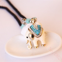 New Fashion Elephant Beige Diamond Sweater chain Long necklace Easy to match Accessories Sweater chain