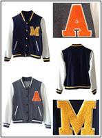 Womens Dark Blue M Applique Baseball Jacket Coat Top Girls Gray Applique Unisex SDA382-SDA1521