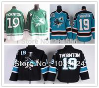 Black Joe Thornton Jersey Teal Blue Home San Jose Sharks 19 Joe Thornton Green Jersey Newest Style Ice 100% Polyester