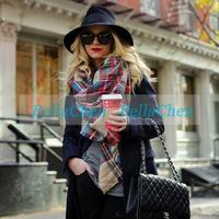 Hot sale Europe and America new winter Unisex a large tartan scarf color Wrap Shawl Neck Stole Warm Plaid Checked Cashmere