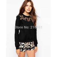 2014 New fashion Europe Women sweet sexy Lace stitching Sweatshirt pullover Lady casual brand design black Hoodies #J413