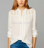 2014 new fashion women casual elegant white Lace stitching long sleeve blouse Lady fashion brand design cotton shirt #J414
