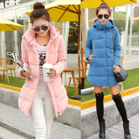 winter 2014 Korean version of the new candy-colored jacket long sections Slim female cotton women coat