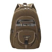 2014 New Fashion Canvas Backpacks Men's Brown Backpack Outdoor Sport Bag Casual School Bag Camping Travel Backbag Wholesale