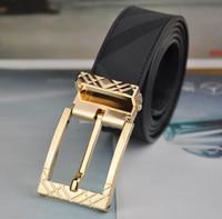 Famous brand belt For Men Brass buckle black cowhide leather designs fashion business belt Drop shipping