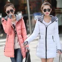 real shot 2014 winter new Korean Slim sweet hooded long down jacket women coat