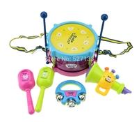 5pcs/Set Musical Playing Type Sets Multicolor Plastic Educational Toys Drum / Handbell / Trumpet / Sand Hammer /Drum Sticks