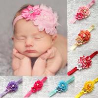 Drop Shipping1pcs Infant satin flower headband Babies girls hairband Toddler Baby girl's Felt Flower headbands