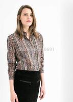 2014 new fashion women casual  positioning Circles Swirls printed blouse Lady fashion brand design OL vintage shirt #J415
