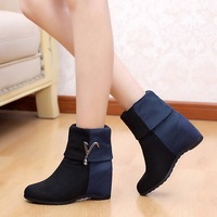 Spring and autumn boots color block decoration elastic velvet medium-leg women's boots elevator shoes snow boots martin boots