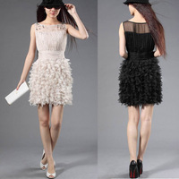 New arrival 2014 A-line short Cocktail Dresses Beads Pleat Ruffle party formal brand white prom homecoming evening sexy gown