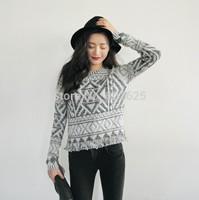 932 # 2014 Spring New stylenanda retro snowflake geometric ethnic female short fringed sweater knit