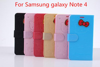 For Samsung Galaxy Note 4 Cute Bowknot Hello Kitty Leather case, Folio Credit card slots Wallet Stand leather cover case