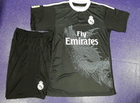 Embroidery Logo 14/15!!! Real Madrid Third Black Soccer Uniform,High Quality kits, Soccer Shirt with Short+Free Shipping