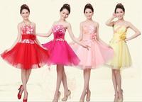 4 color women wedding dress 2014 new fashion Short paragraph women bridesmaid dress party dress women S-XXL
