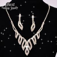 Women Fashion Jewelry Set Best Beautiful Silver Luxury  Decoration Necklace Earring For Brade  F043