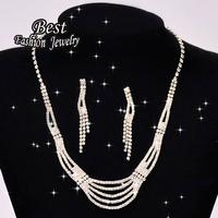 Delicate Female Five Layer Luxury Necklace Multi Tassels Drop Earring Women Fashion Jewelry Set  F040