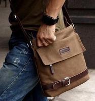 Korean Fashion Messenger bag Pure color casual Bag Men's shoulder bag free shipping